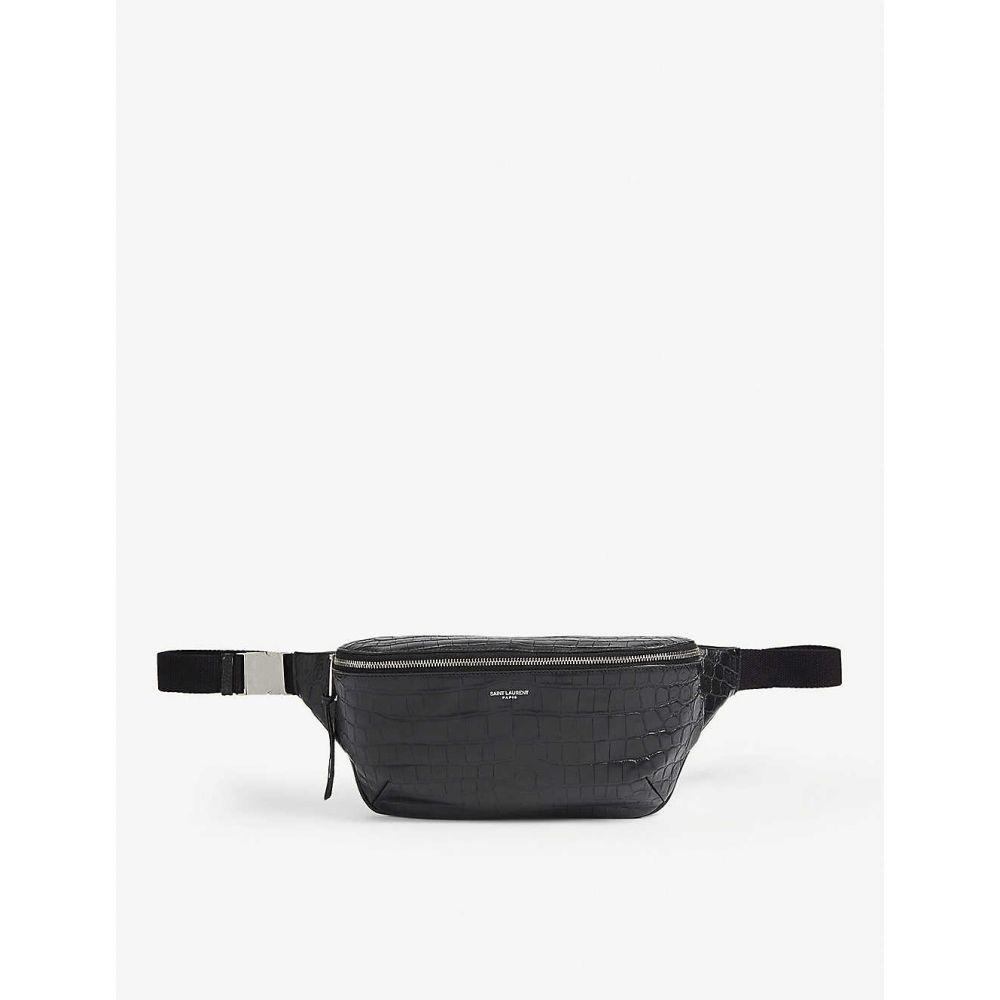 イヴ サンローラン SAINT LAURENT メンズ ボディバッグ・ウエストポーチ バッグ【Croc-embossed belt bag】BLACK