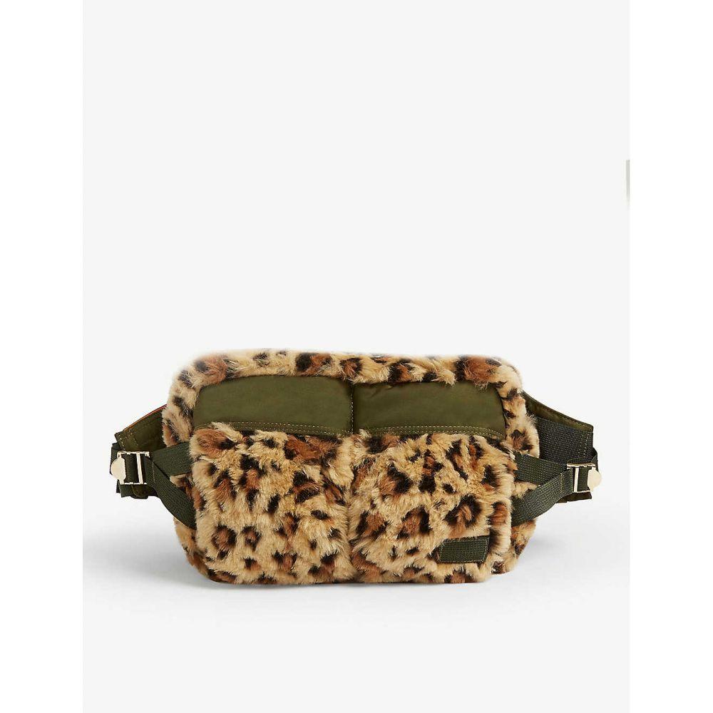 サカイ SACAI メンズ ボディバッグ・ウエストポーチ バッグ【Leopard print faux-fur belt bag】Beige
