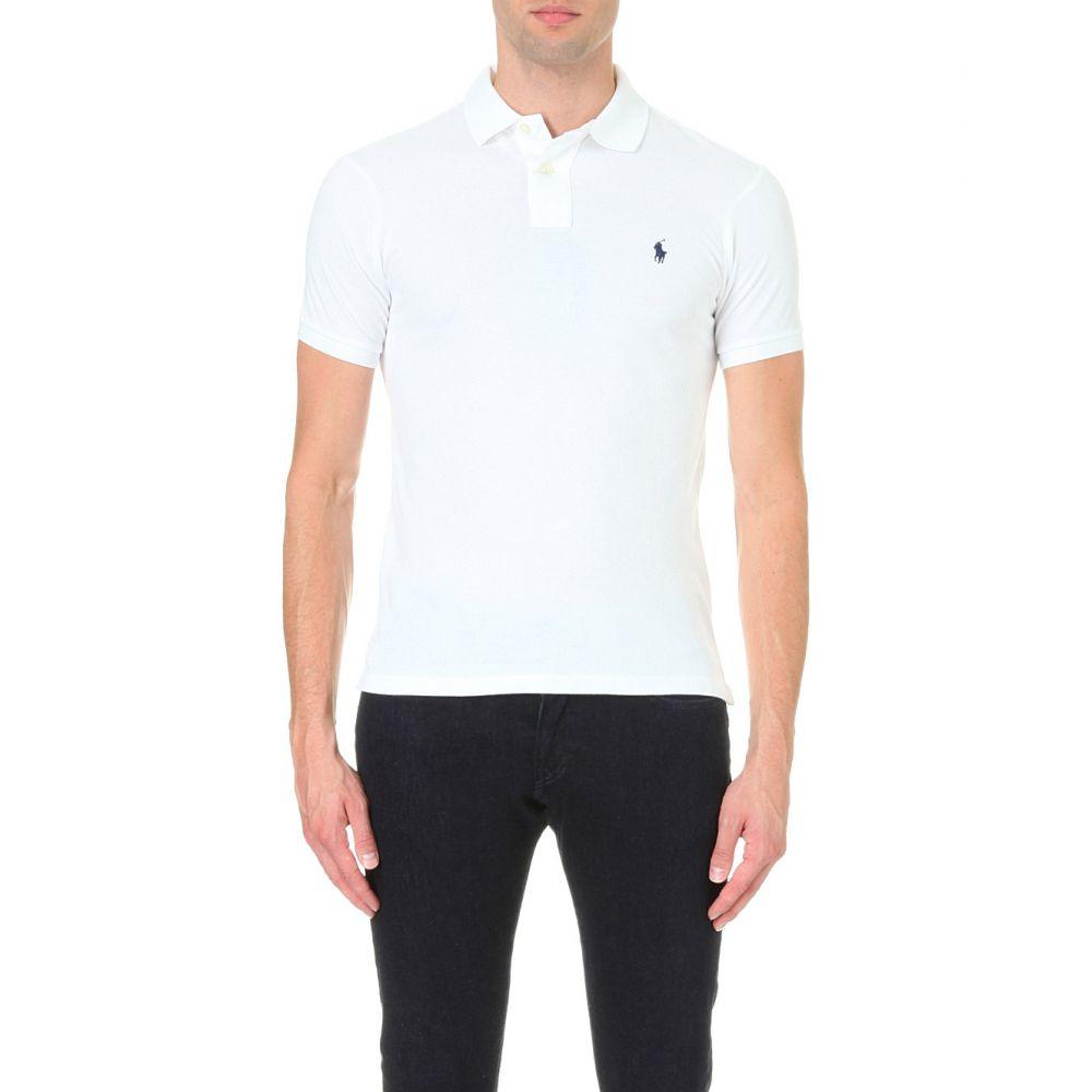 ラルフ ローレン POLO RALPH LAUREN メンズ ポロシャツ トップス【Slim-fit mesh polo shirt】White