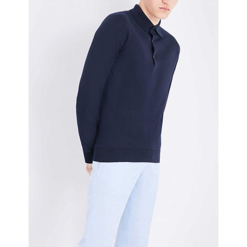 ジョンスメドレー JOHN SMEDLEY メンズ ポロシャツ トップス【Bradwell cotton-knit polo top】NAVY