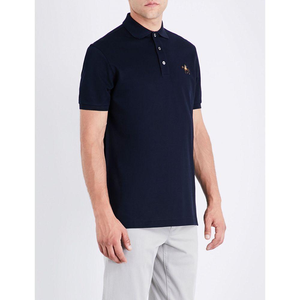 ラルフ ローレン RALPH LAUREN PURPLE LABEL メンズ ポロシャツ トップス【Logo cotton polo-pique shirt】Classic chairman navy
