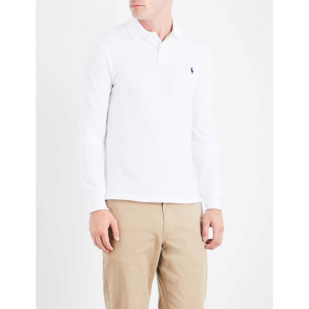 ラルフ ローレン POLO RALPH LAUREN メンズ ポロシャツ トップス【Long-sleeved cotton-pique polo shirt】WHITE