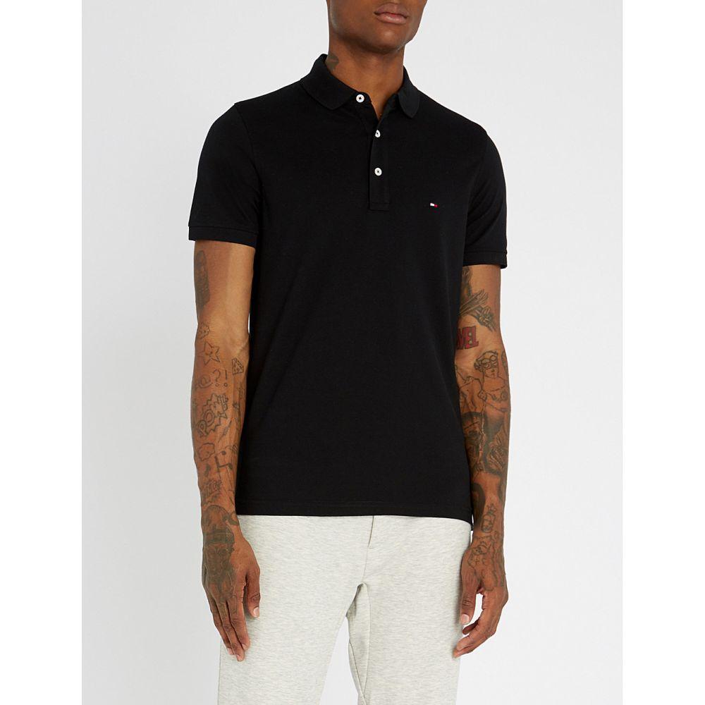 トミー ヒルフィガー TOMMY HILFIGER メンズ ポロシャツ トップス【Logo-embroidered cotton-pique polo shirt】Black