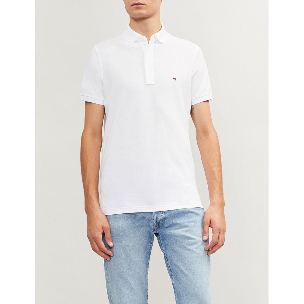 トミー ヒルフィガー TOMMY HILFIGER メンズ ポロシャツ トップス【Logo-embroidered cotton-pique polo shirt】Bright white