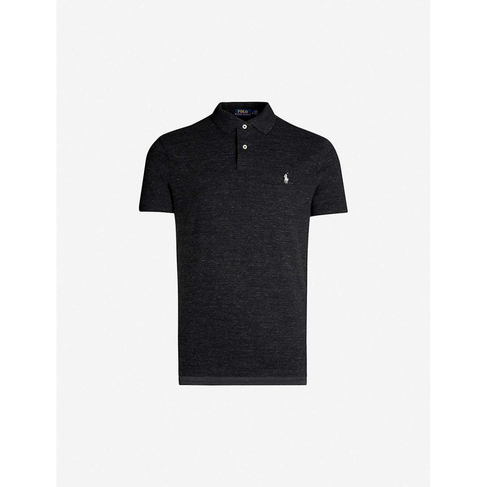 ラルフ ローレン POLO RALPH LAUREN メンズ ポロシャツ トップス【Logo-embroidered custom slim-fit cotton-pique polo shirt】Black marl heather