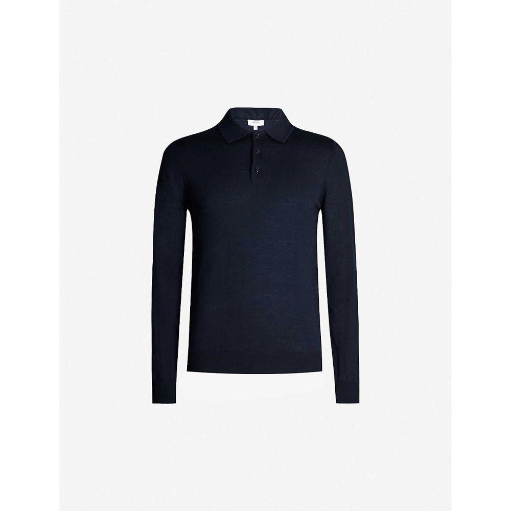 リース REISS メンズ ポロシャツ トップス【Trafford merino wool polo shirt】NAVY