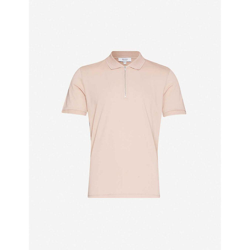 リース REISS メンズ ポロシャツ トップス【Jude zip-neck cotton-pique polo shirt】PINK