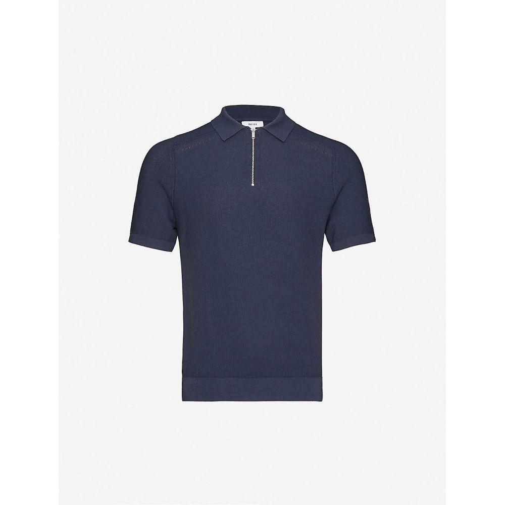 リース REISS メンズ ポロシャツ トップス【Airdale cotton-knitted polo shirt】PEWTER