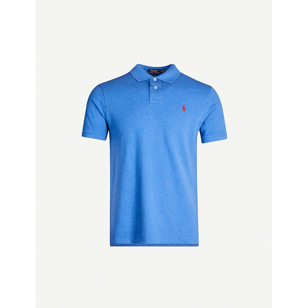 ラルフ ローレン POLO RALPH LAUREN メンズ ポロシャツ トップス【Logo-embroidered slim-fit cotton-pique polo shirt】BLUE