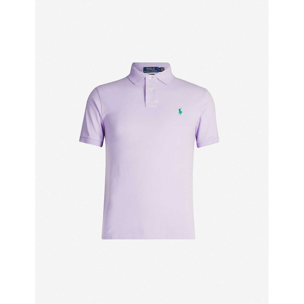 ラルフ ローレン POLO RALPH LAUREN メンズ ポロシャツ トップス【Logo-embroidered slim-fit cotton-pique polo shirt】LAVENDER