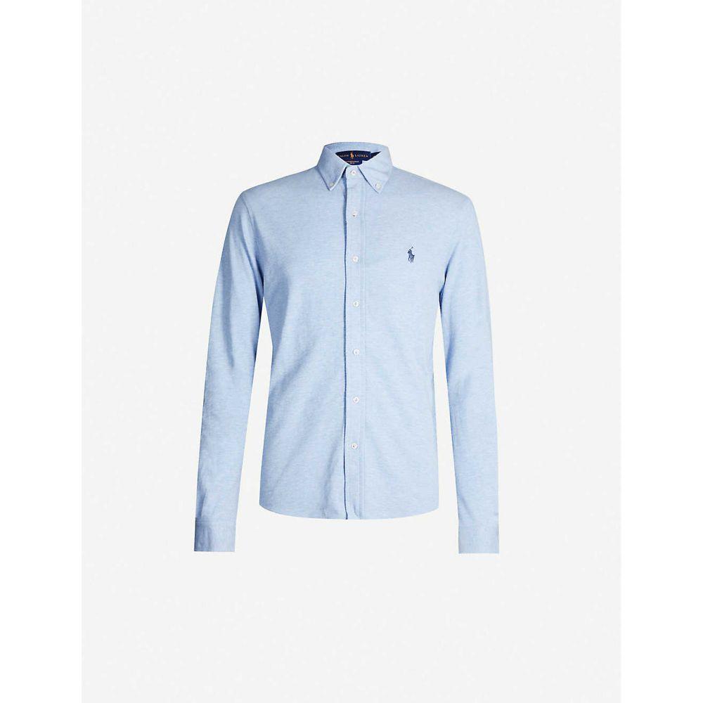 ラルフ ローレン POLO RALPH LAUREN メンズ ポロシャツ トップス【Logo-embroidered cotton-pique shirt】BLUE