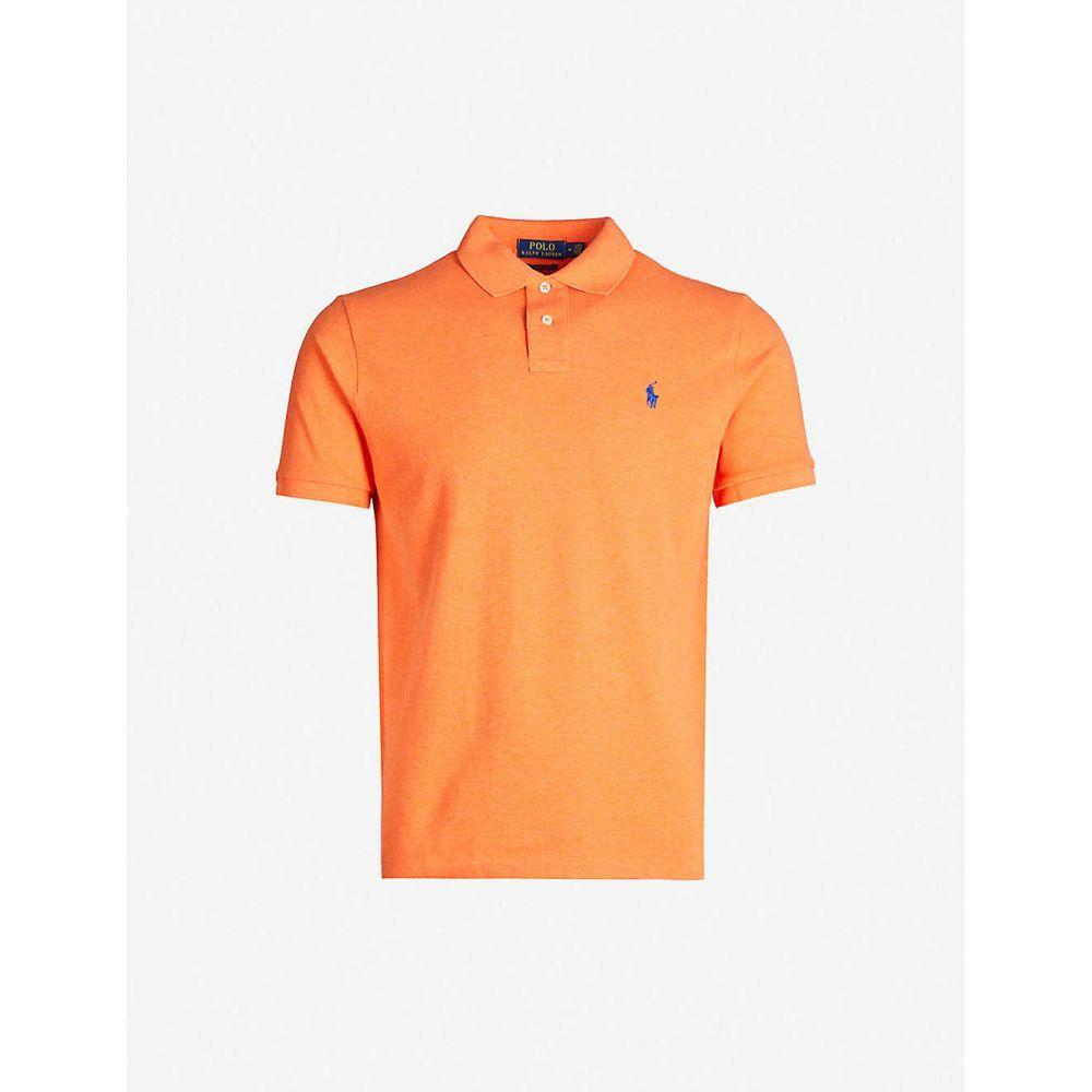 ラルフ ローレン POLO RALPH LAUREN メンズ ポロシャツ トップス【Logo-embroidered slim-fit cotton-pique polo shirt】ORANGE