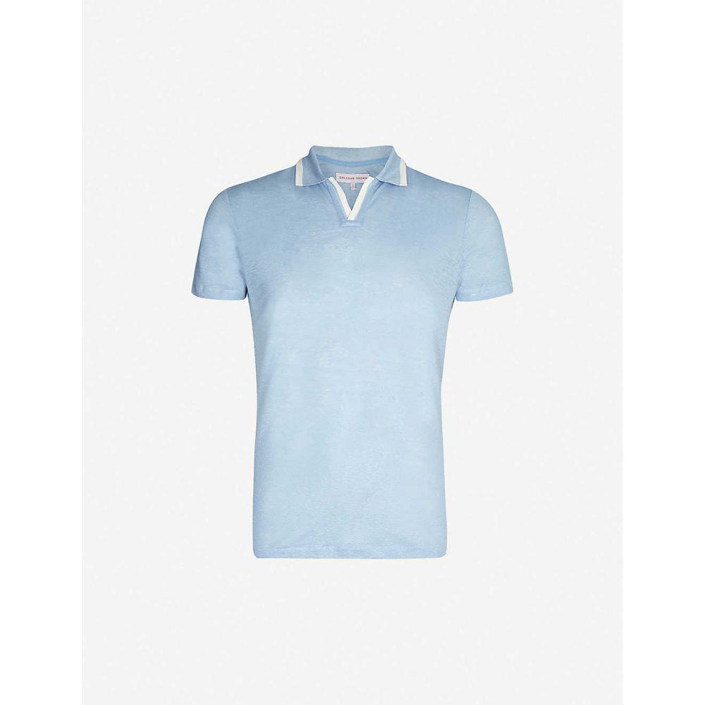 オールバー ブラウン ORLEBAR BROWN メンズ ポロシャツ トップス【Felix linen polo shirt】Sea Breeze/canvas