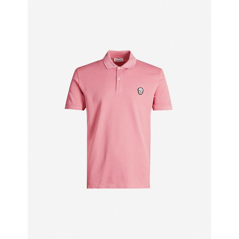 アレキサンダー マックイーン ALEXANDER MCQUEEN メンズ ポロシャツ トップス【Skull-embroidered cotton-pique polo shirt】Sugar Pink