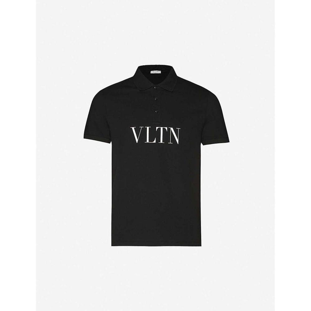 ヴァレンティノ VALENTINO メンズ ポロシャツ トップス【Logo-print cotton-jersey polo shirt】BLACK WHITE