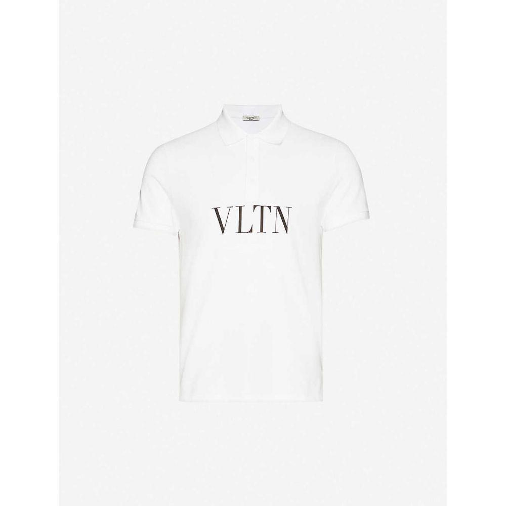 ヴァレンティノ VALENTINO メンズ ポロシャツ トップス【Logo-print cotton-jersey polo shirt】White Black