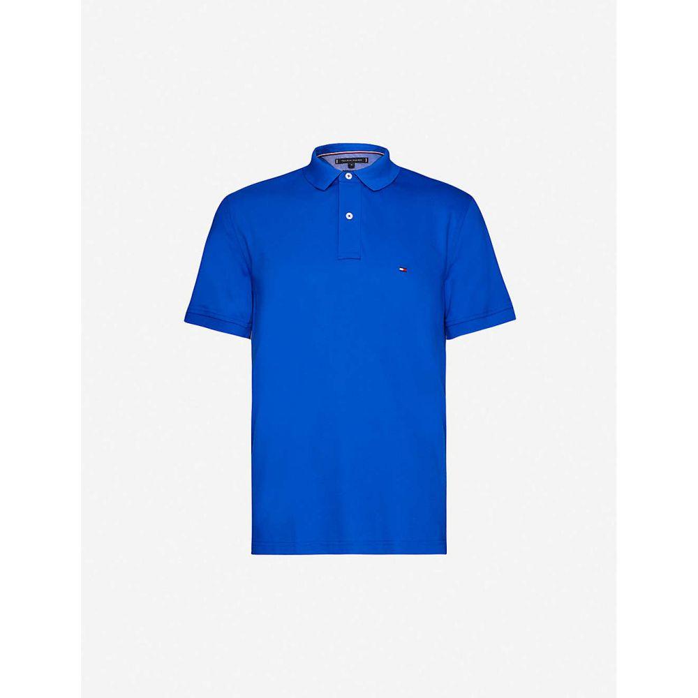 トミー ヒルフィガー TOMMY HILFIGER メンズ ポロシャツ トップス【Logo-embroidered regular-fit cotton-pique polo shirt】BLUE