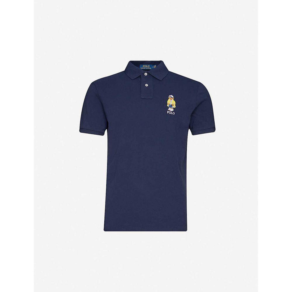 ラルフ ローレン POLO RALPH LAUREN メンズ ポロシャツ トップス【Bear-embroidered slim-fit cotton-pique polo shirt】Navy