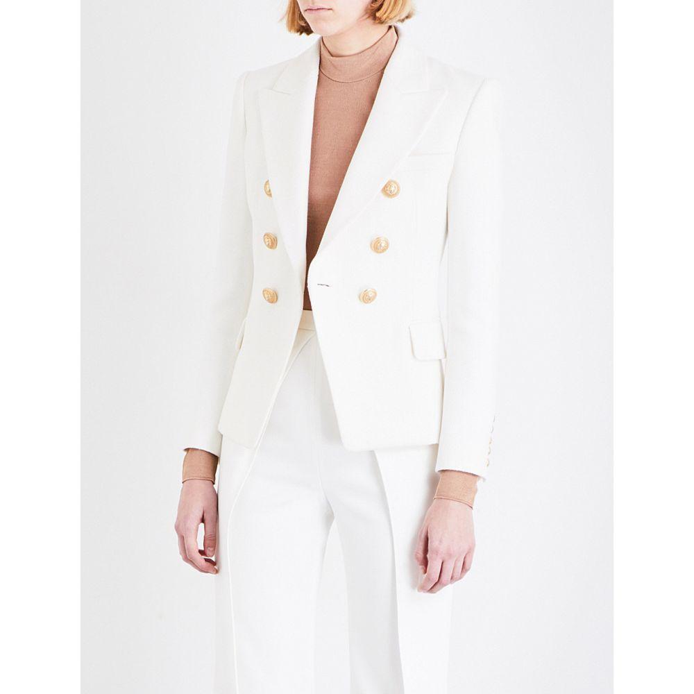 バルマン BALMAIN レディース スーツ・ジャケット ダブルブレストジャケット アウター【Double-breasted cotton-pique jacket】BLANCE
