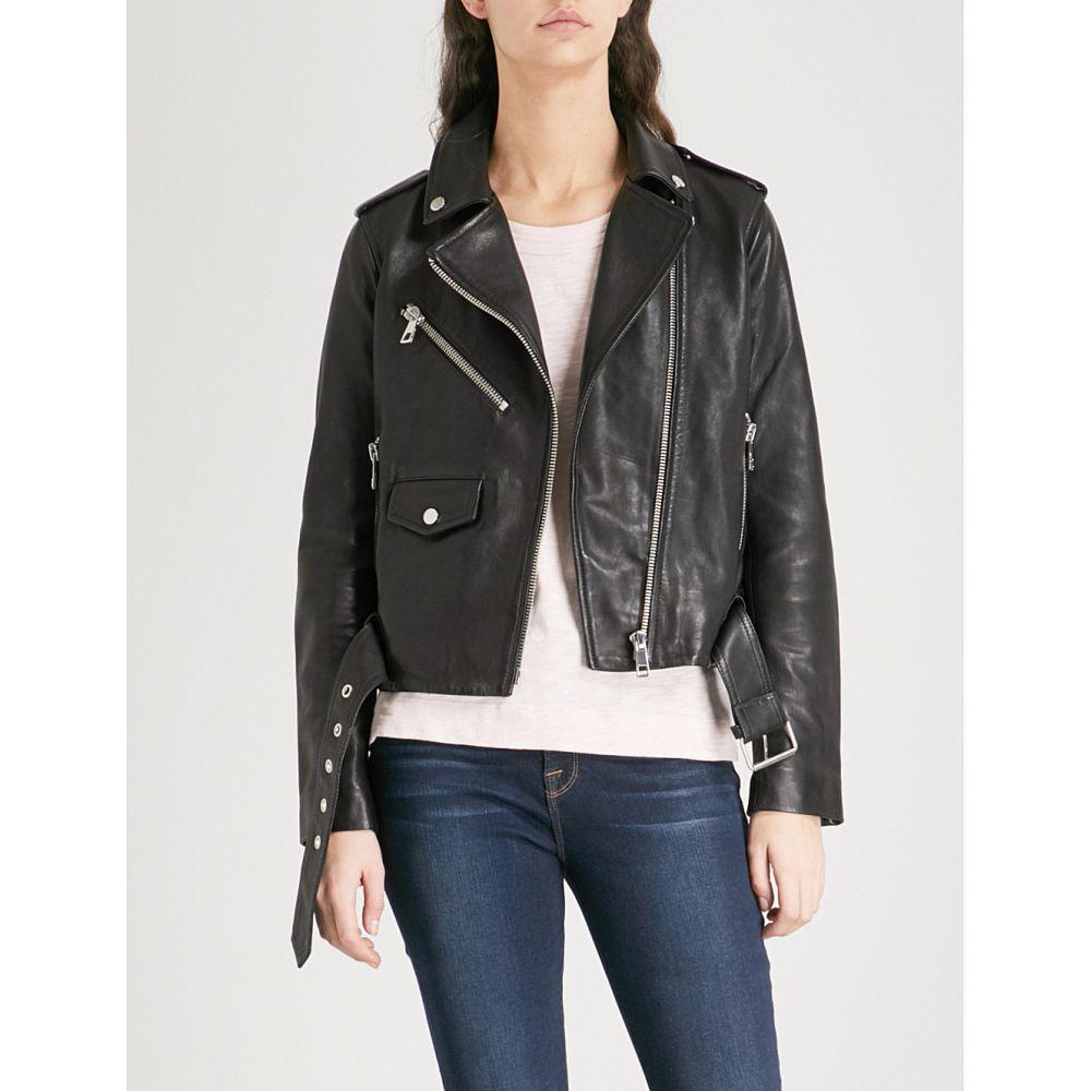 ホイッスルズ WHISTLES レディース レザージャケット ライダース アウター【Agnes belted leather biker jacket】Black