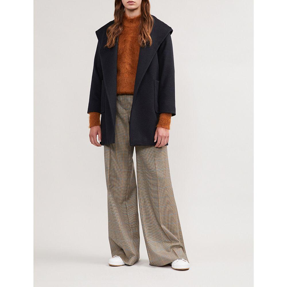 マックスマーラ MAX MARA レディース コート アウター【Rialto wrap-over camel hair coat】NAVY