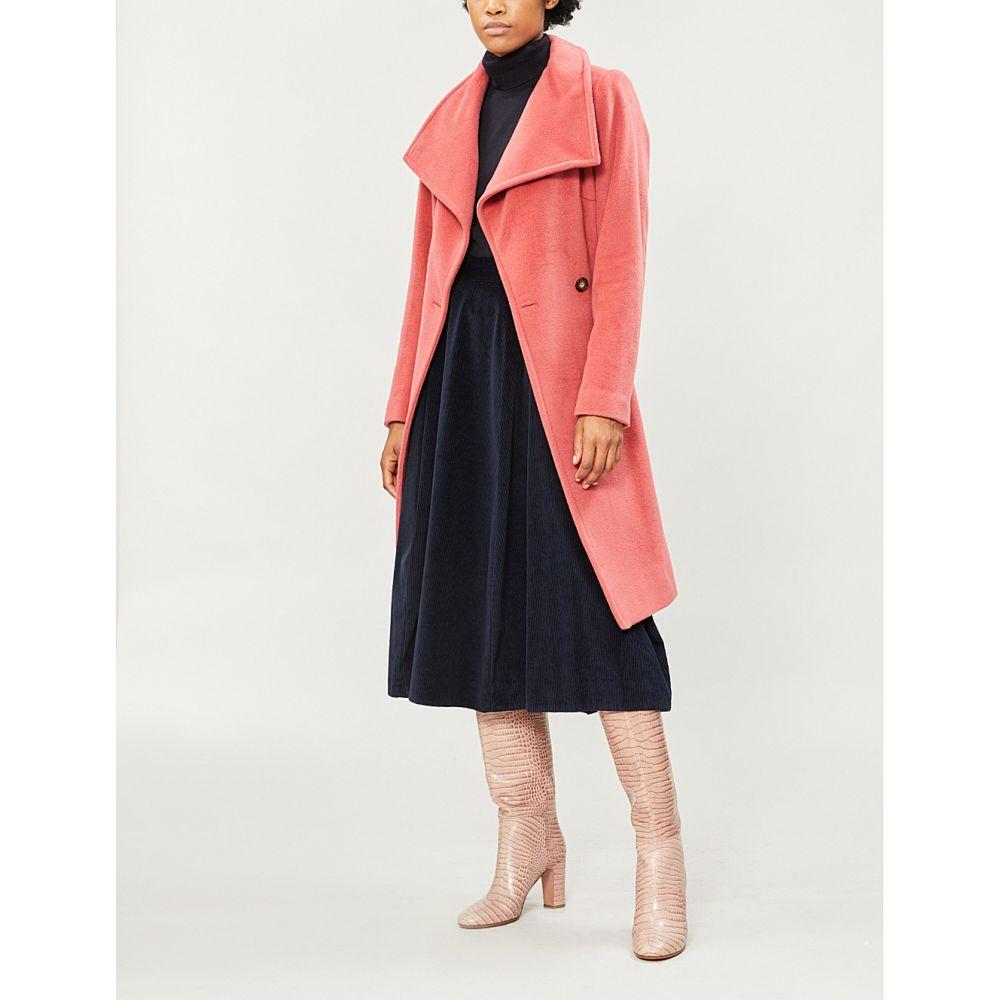 リース REISS レディース コート ダブルブレストコート アウター【Luna double-breasted wool coat】Raspberry