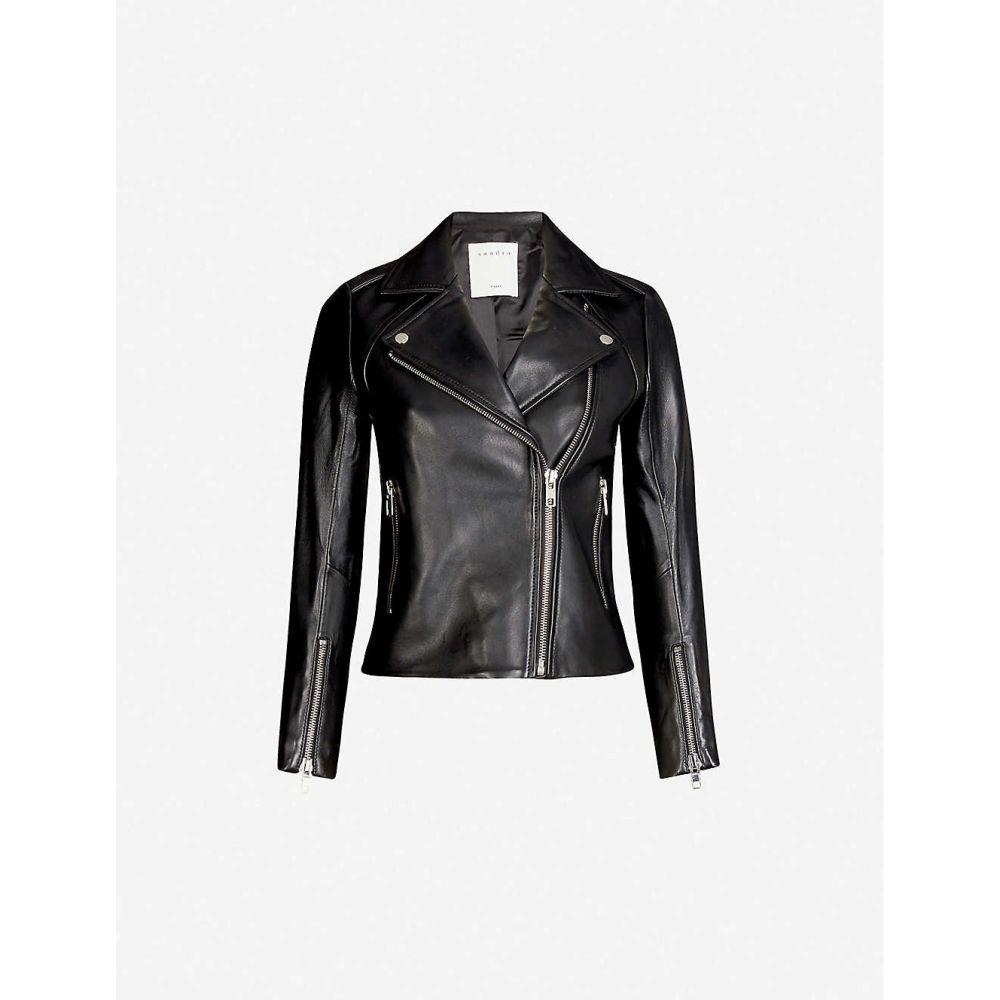サンドロ SANDRO レディース レザージャケット ライダース アウター【Leather biker jacket】Black