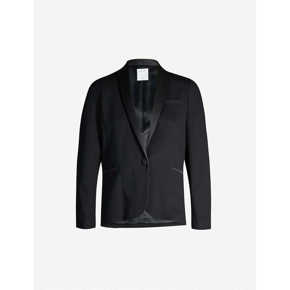 サンドロ SANDRO レディース スーツ ジャケット アウター Satin-trim stretch-woven blazer BLACK 白寿祝 結婚内祝 還暦祝