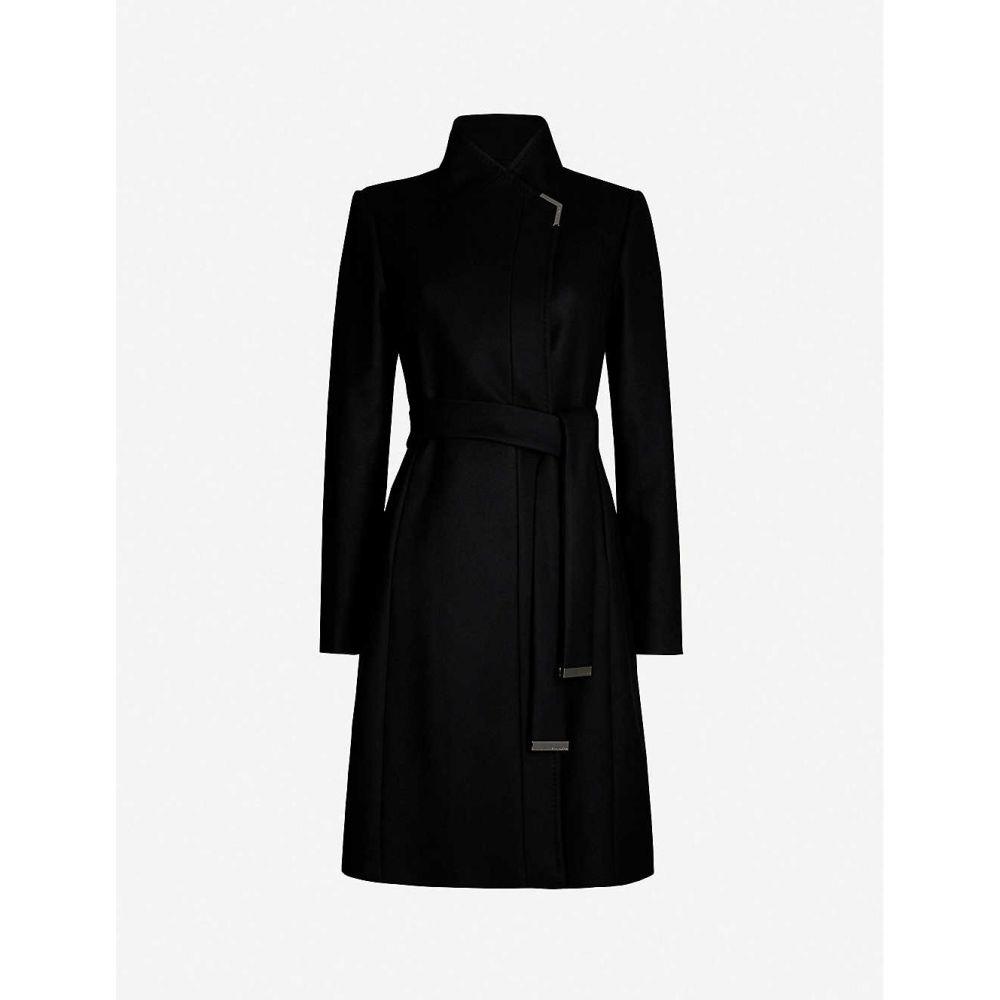 テッドベーカー TED BAKER レディース コート ラップコート アウター【Embellished-trim wool-blend wrap coat】BLACK