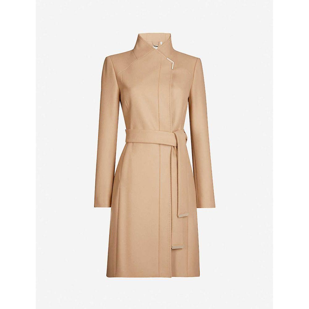 テッドベーカー TED BAKER レディース コート ラップコート アウター【Embellished-trim wool-blend wrap coat】CAMEL
