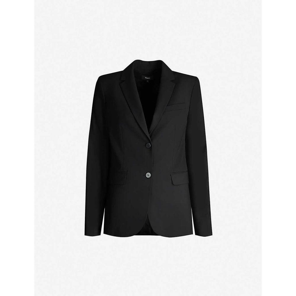 セオリー THEORY レディース スーツ・ジャケット アウター【Single-breasted wool-blend blazer】Black