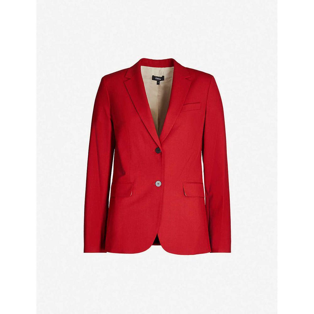 セオリー THEORY レディース スーツ・ジャケット アウター【Single-breasted wool-blend blazer】Crimson