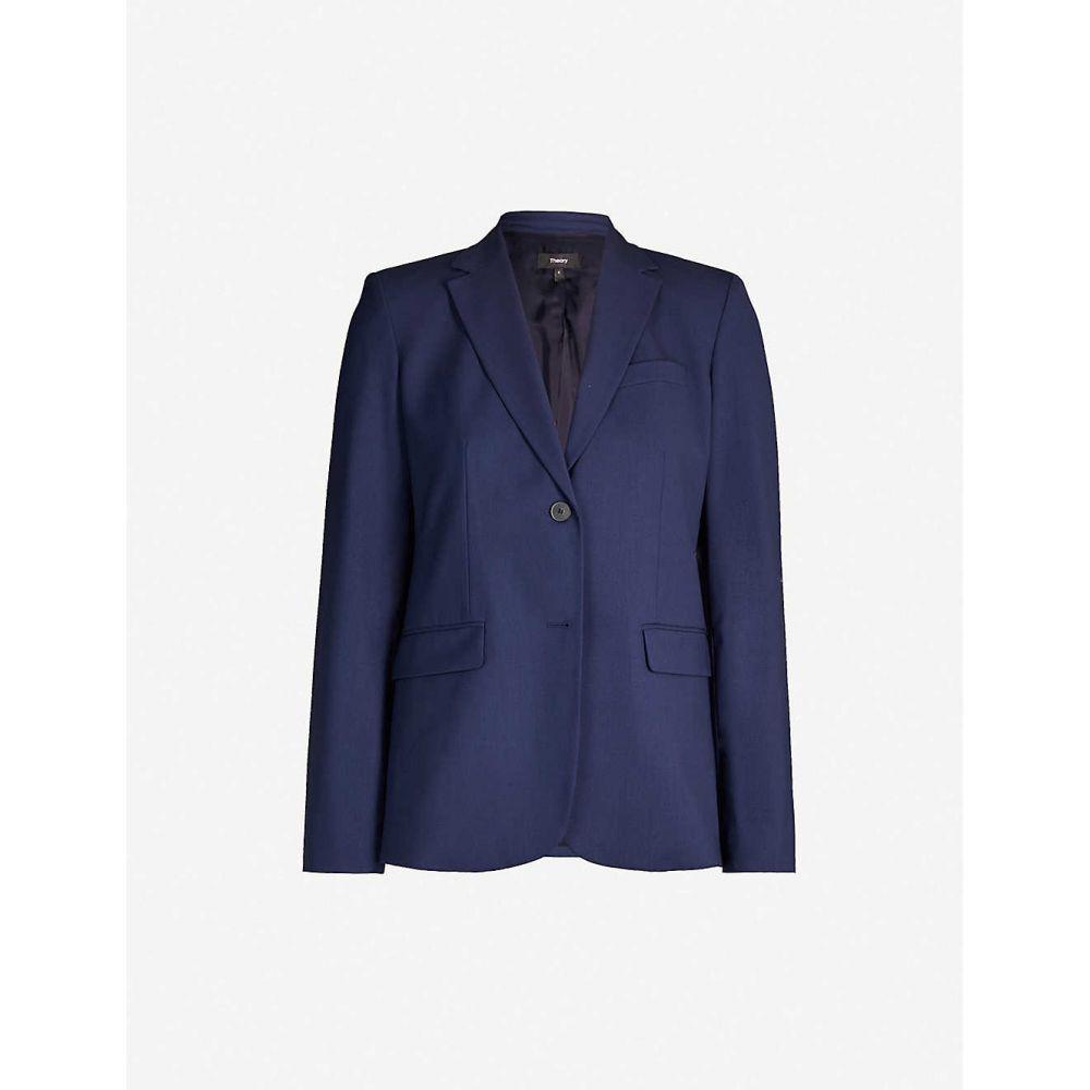 セオリー THEORY レディース スーツ・ジャケット アウター【Single-breasted wool-blend blazer】Sea blue