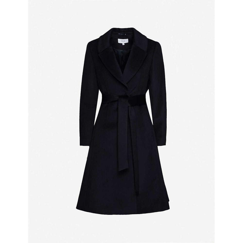 リース REISS レディース コート アウター【Hattie wool-blend fit-and-flare overcoat】NAVY