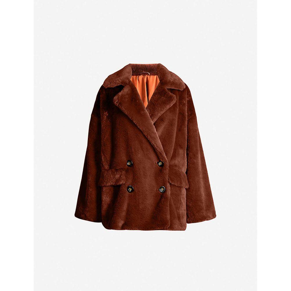 フリーピープル FREE PEOPLE レディース コート ダブルブレストコート アウター【Kate double-breasted faux-fur coat】TERRACOTTA