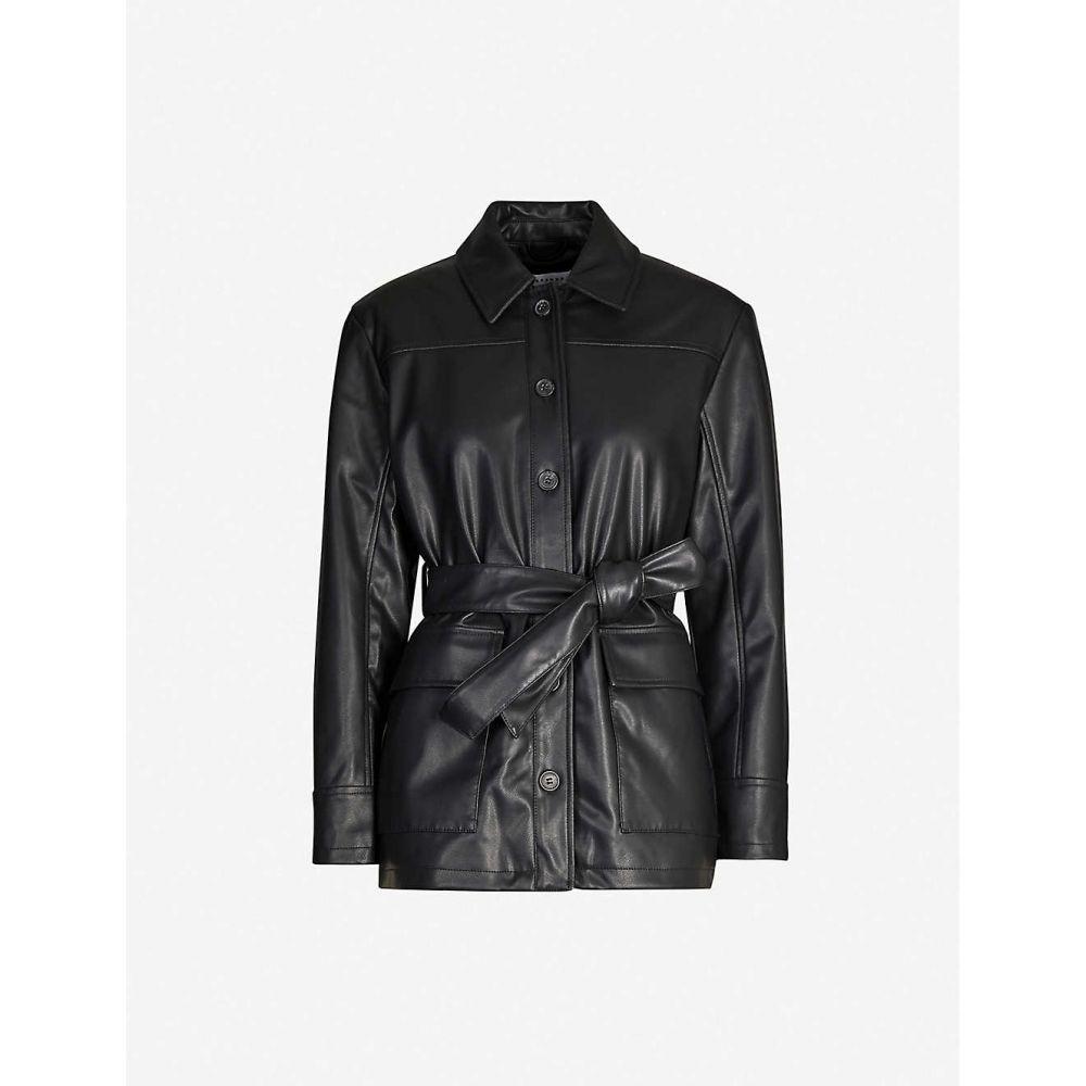 トップショップ TOPSHOP レディース レザージャケット ダブルブレストジャケット アウター【Tied-front double-breasted faux-leather jacket】Black