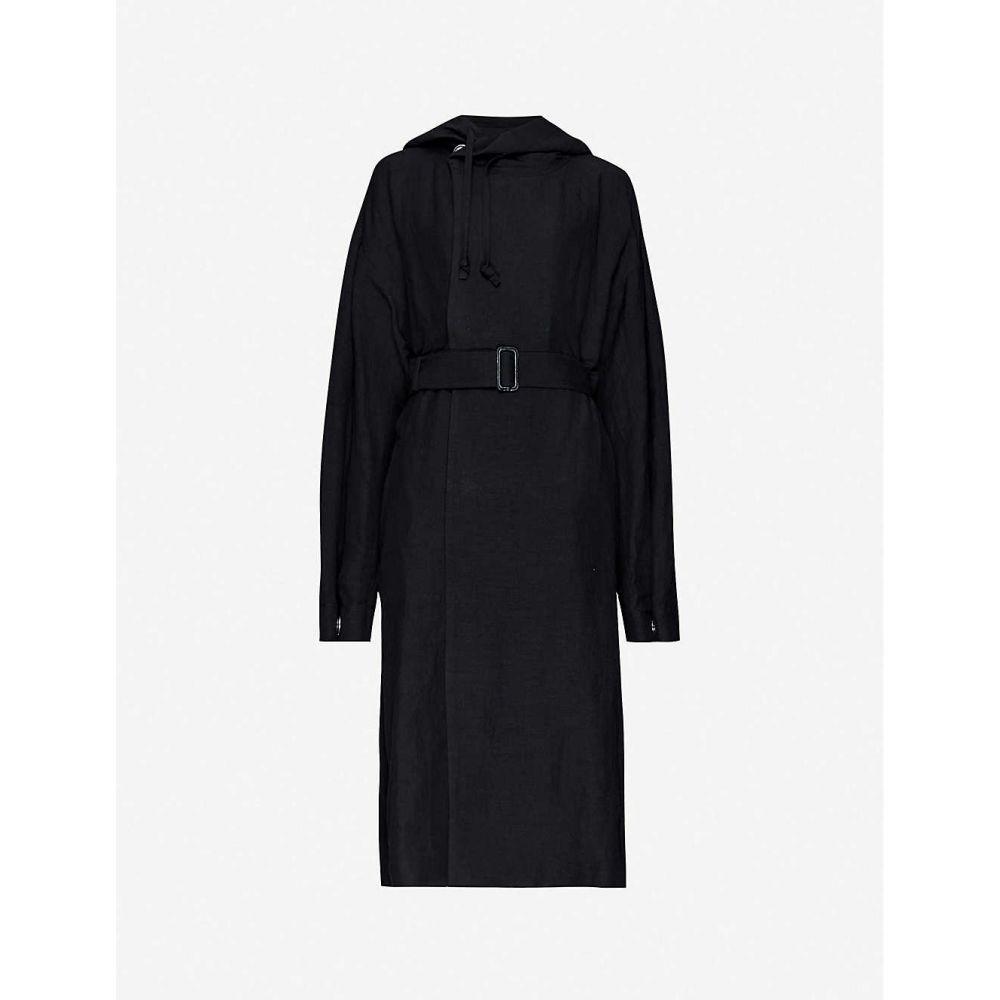 ヨウジヤマモト YOHJI YAMAMOTO レディース コート フード アウター【Hooded linen-blend coat】BLACK