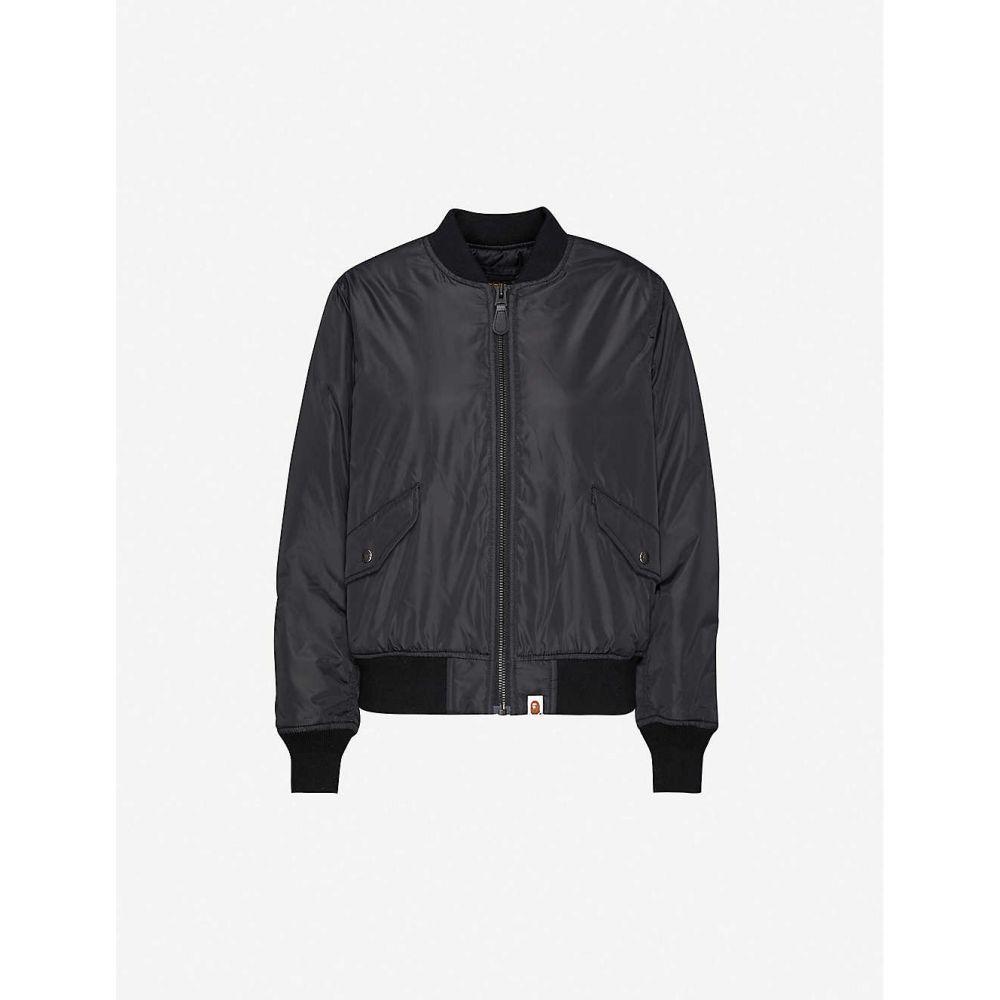 ベイプ BAPE レディース ブルゾン ミリタリージャケット シェルジャケット アウター【Text-print shell bomber jacket】BLACK