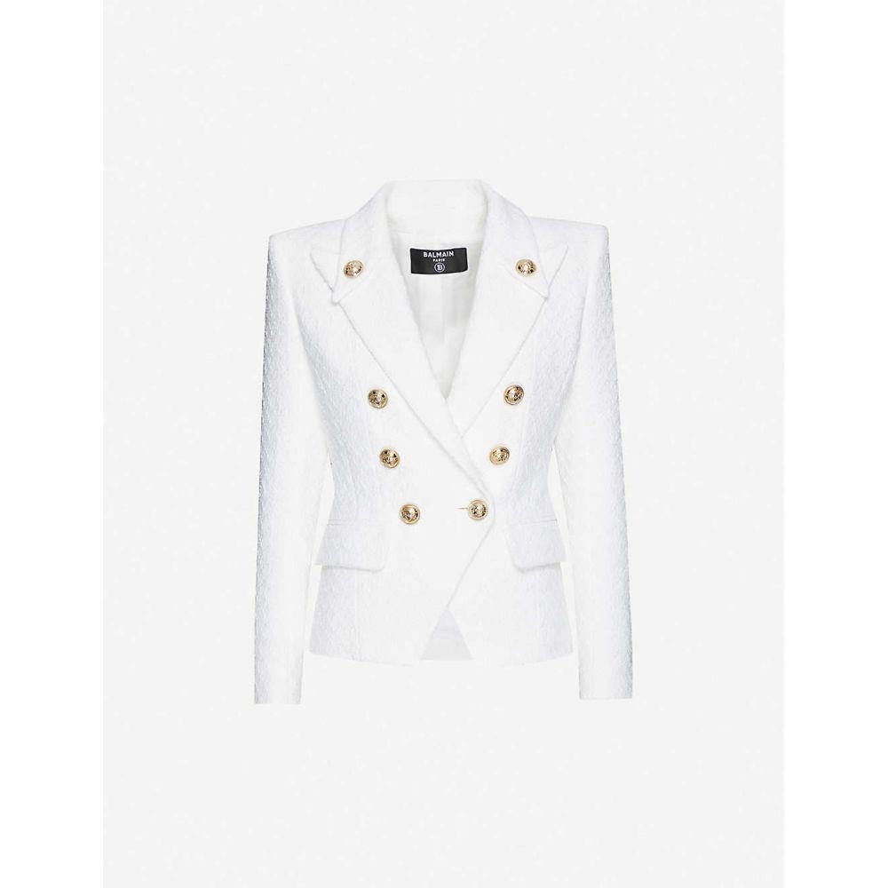 バルマン BALMAIN レディース スーツ・ジャケット ダブルブレストジャケット アウター【Double-breasted cotton-blend jacket】WHITE