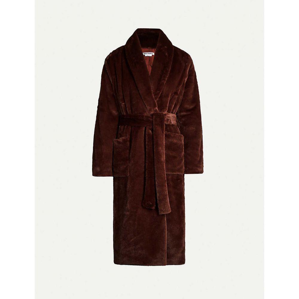 リフォーメーション REFORMATION レディース コート アウター【Hudson faux-fur belted coat】CHOCOLATE