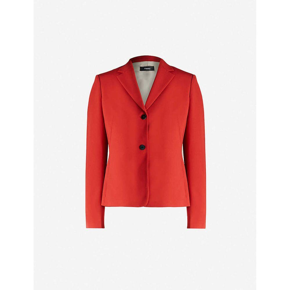 セオリー THEORY レディース スーツ・ジャケット アウター【Single-breasted regular-fit blazer】Red Oak