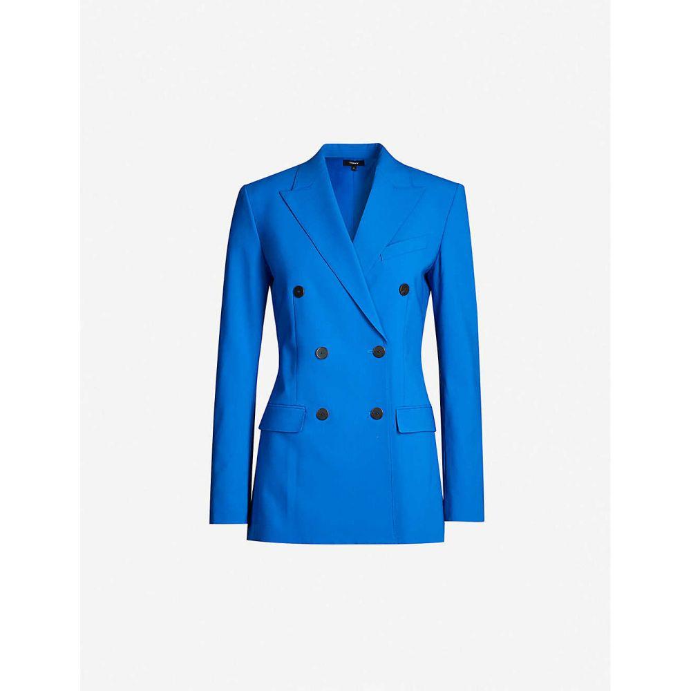 セオリー THEORY レディース スーツ・ジャケット アウター【Double-breasted stretch-wool blazer】Nautical Blue