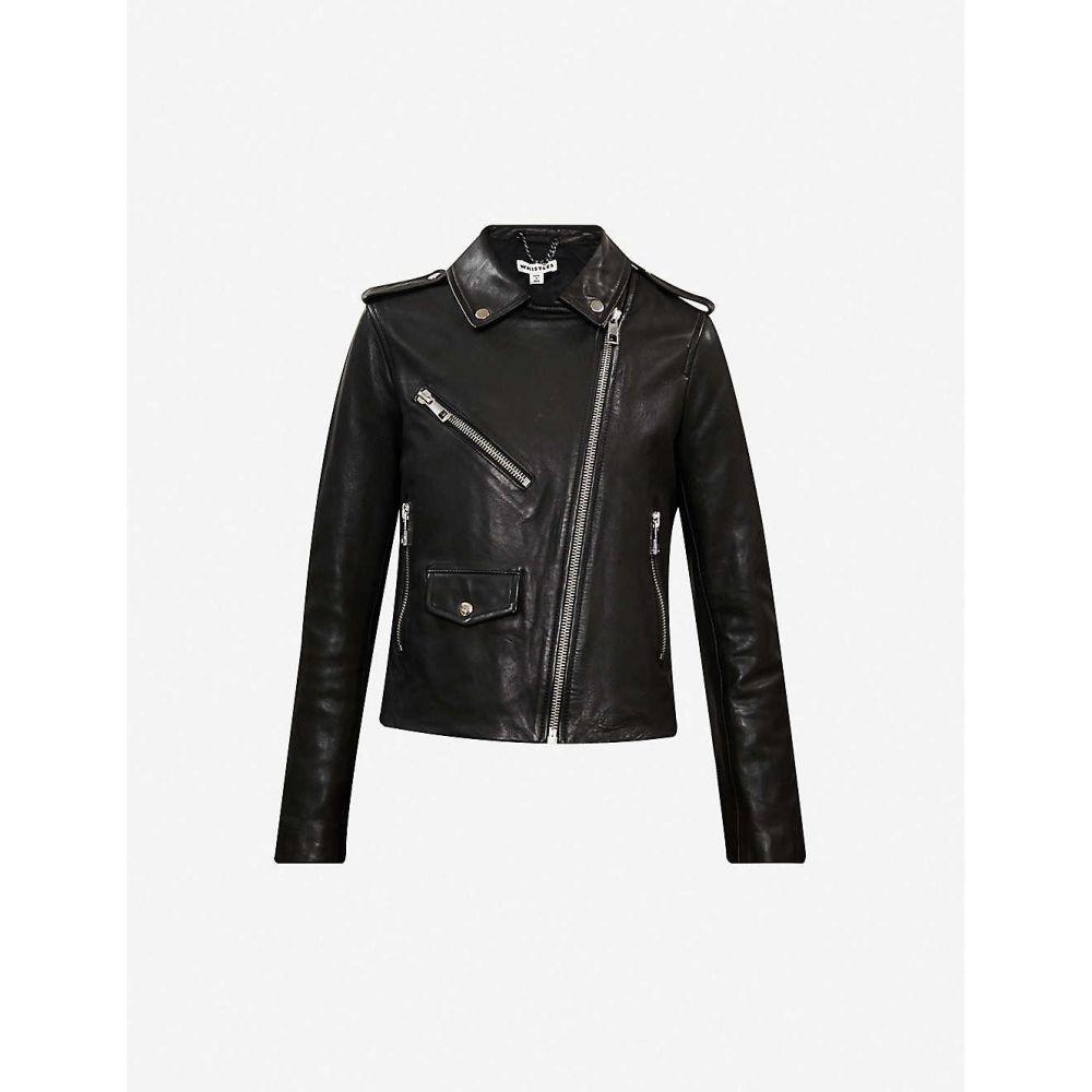 ホイッスルズ WHISTLES レディース レザージャケット ライダース アウター【Agnes zip-through leather biker jacket】Black