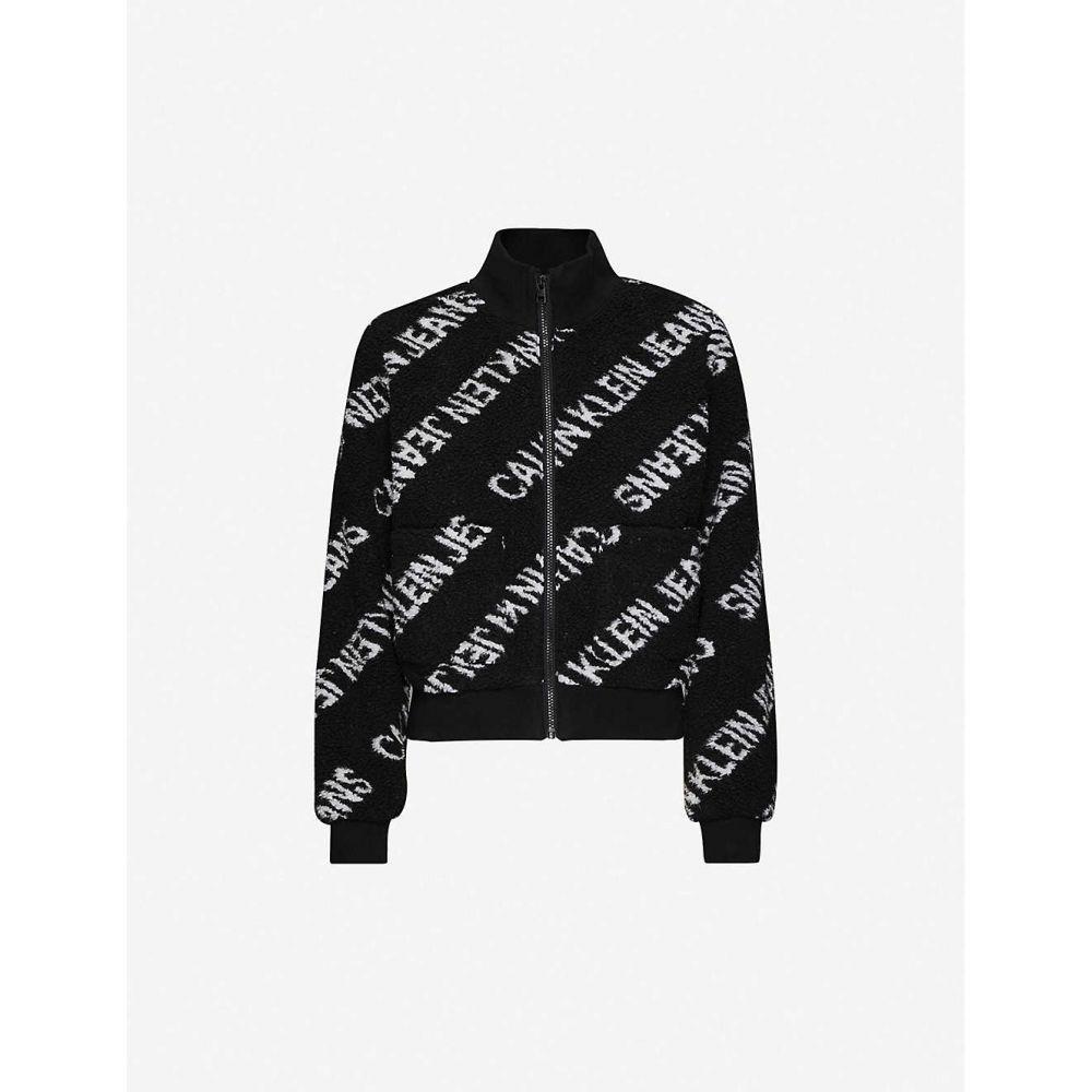 カルバンクライン CALVIN KLEIN レディース フリース トップス【Logo-print fleece jacket】CK BLACK