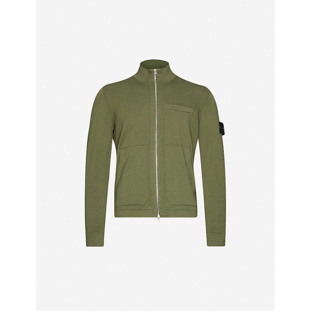 ストーンアイランド STONE ISLAND メンズ カーディガン トップス【Logo-patch zip-through cotton-knit cardigan】Olive