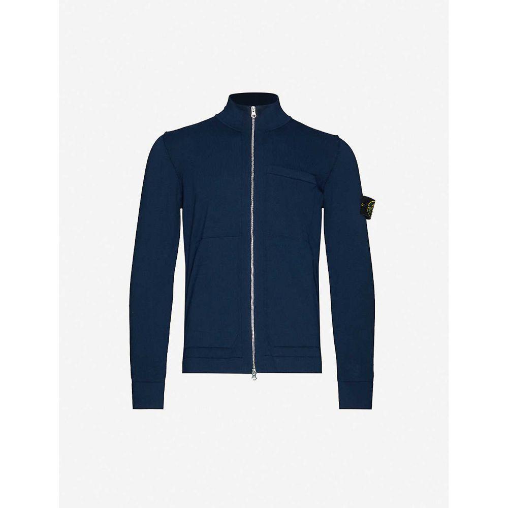 ストーンアイランド STONE ISLAND メンズ カーディガン トップス【Logo-patch zip-through cotton-knit cardigan】BLUE MARINE
