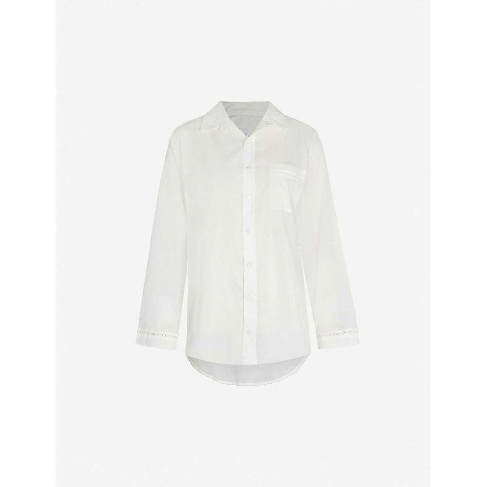 プーラ ファム POUR LES FEMMES レディース パジャマ・トップのみ シャツ インナー・下着【Lace-detail cotton pyjama shirt】White