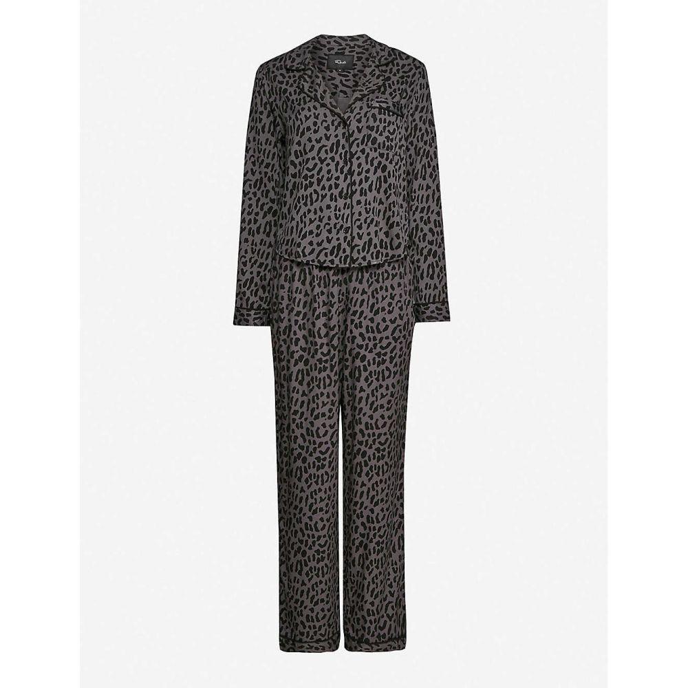 レイルズ RAILS レディース パジャマ・上下セット インナー・下着【Clara graphic-print stretch-jersey pyjamas】Onyx Leopard