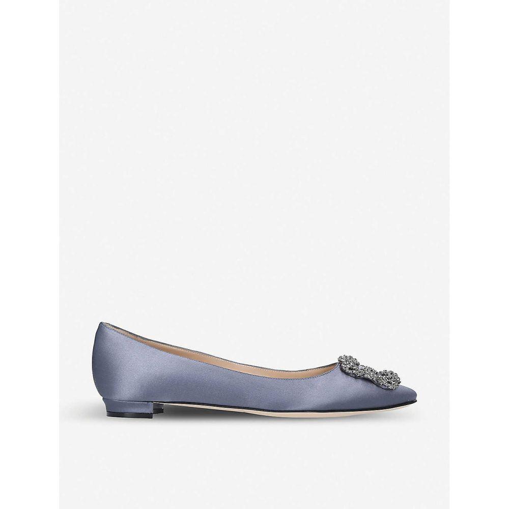 マノロブラニク MANOLO BLAHNIK レディース スリッポン・フラット シューズ・靴【Hangisi satin flats】Grey