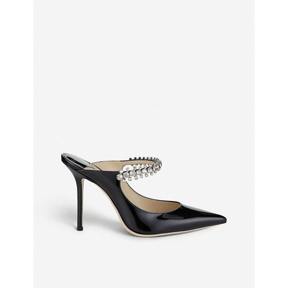 ジミー チュウ JIMMY CHOO レディース サンダル・ミュール シューズ・靴【Bing 100 crystal-embellished patent-leather heeled mules】Black